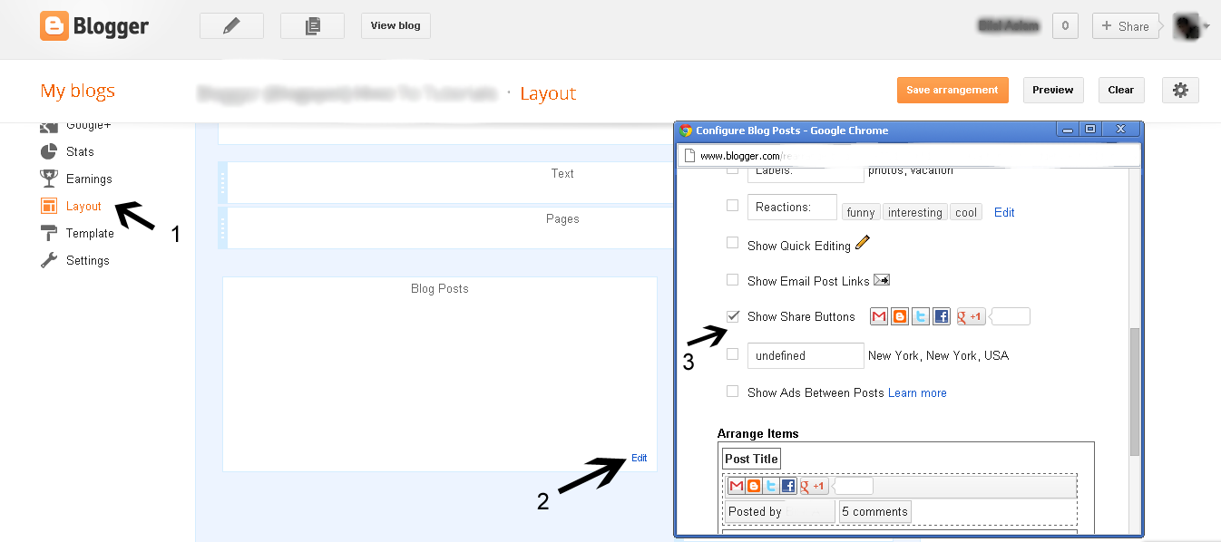 How To Enable Official Share Buttons In Blogspotblogger Templates