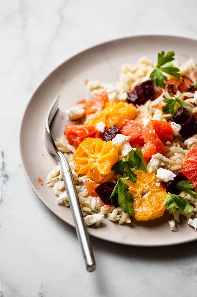 fresh mozzarella winter orzo salad with roasted grapefruit and ...