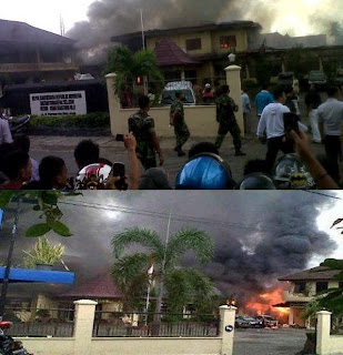 Gambar Kantor Polisi OKU Dibakar anggotaTNI