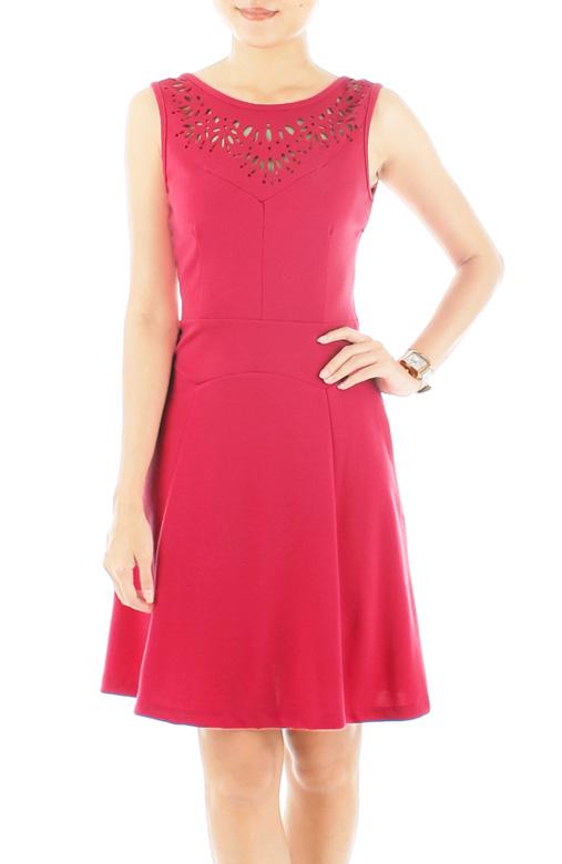 Dandelion Laser-cut Flare Dress – Cerise Pink