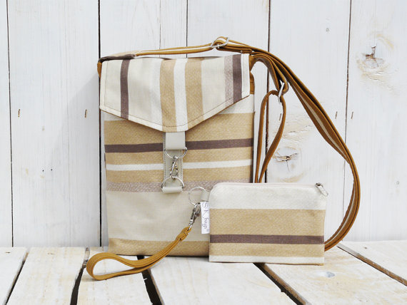 Canvas cross body bag and mini clutch purse brown beige black striped messenger bag small tote bag