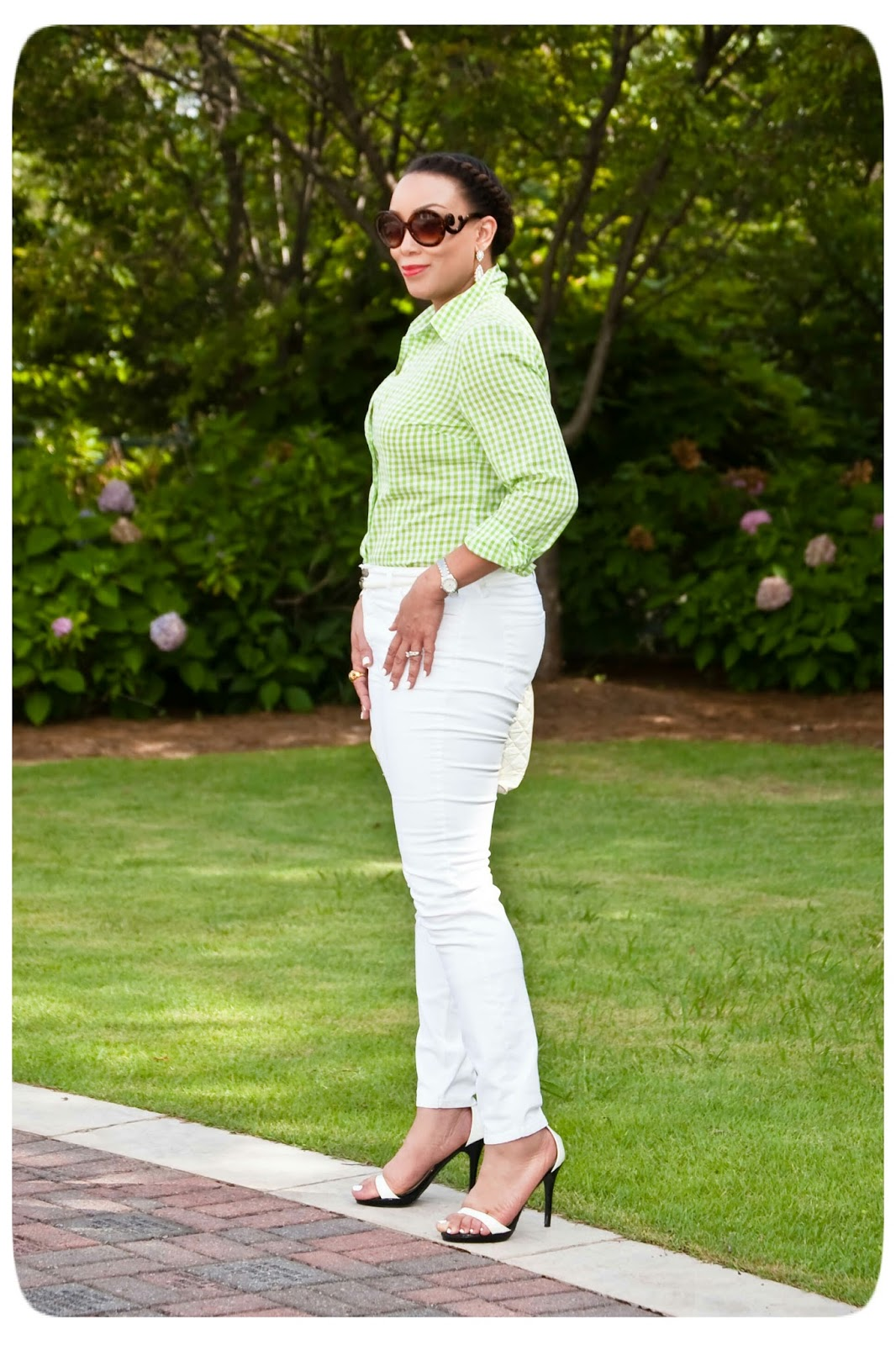 Weekend Wear | Green Gingham + White Denim! -- Erica B's DIY Style!