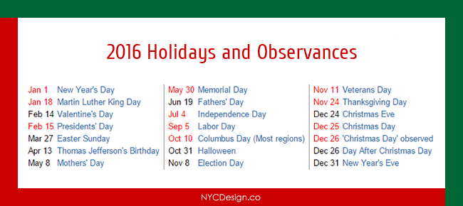 New York Web Design Studio, New York, NY: Calendar 2016 Holidays