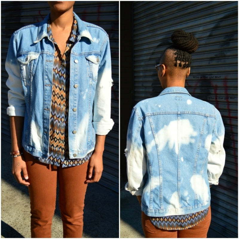 DIY bleached denim jacket front and back {who is that girl mo?}