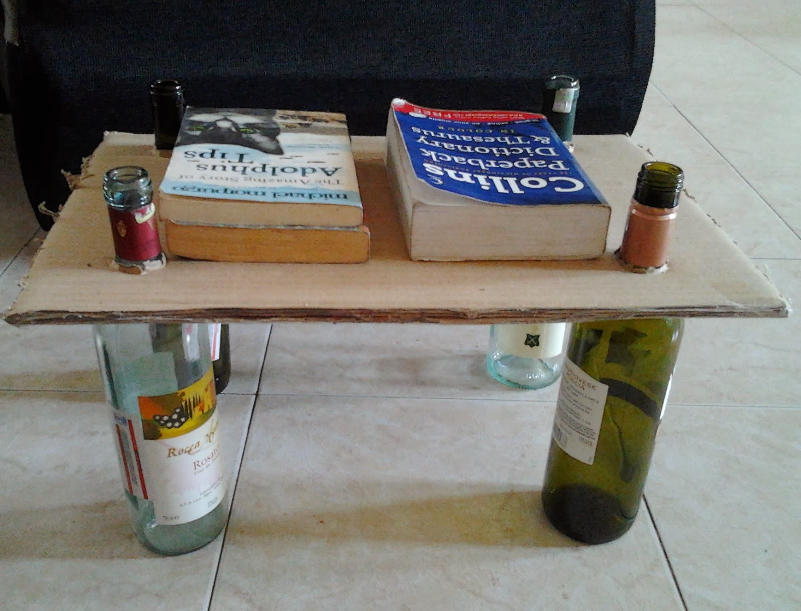 table recycled materials. Recycling By Re-Using Materials: Homemade Book Rack With Recycled Cartons And Bottles Table Materials C