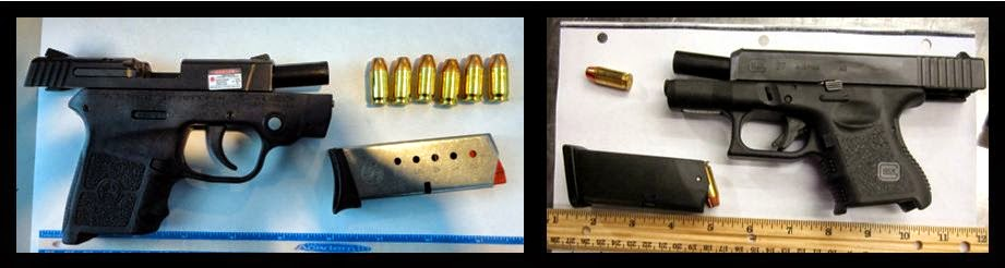 Left to Right: Guns Discovered at HOU & PIT