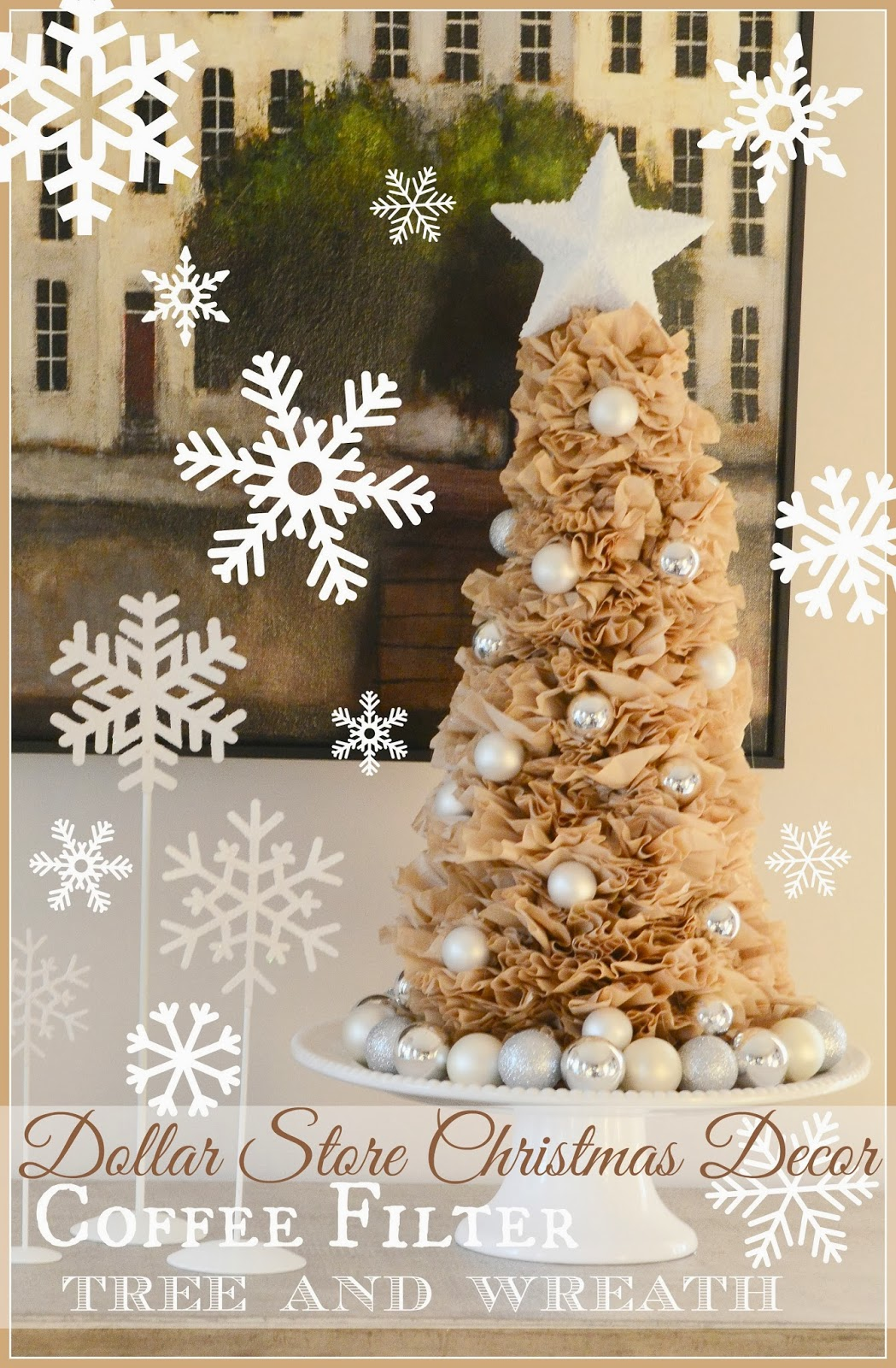 coffee filter tree and wreath diy - Dollar Store Christmas Tree