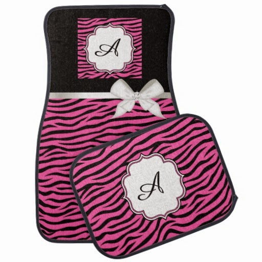 Mongramed car mat set girly