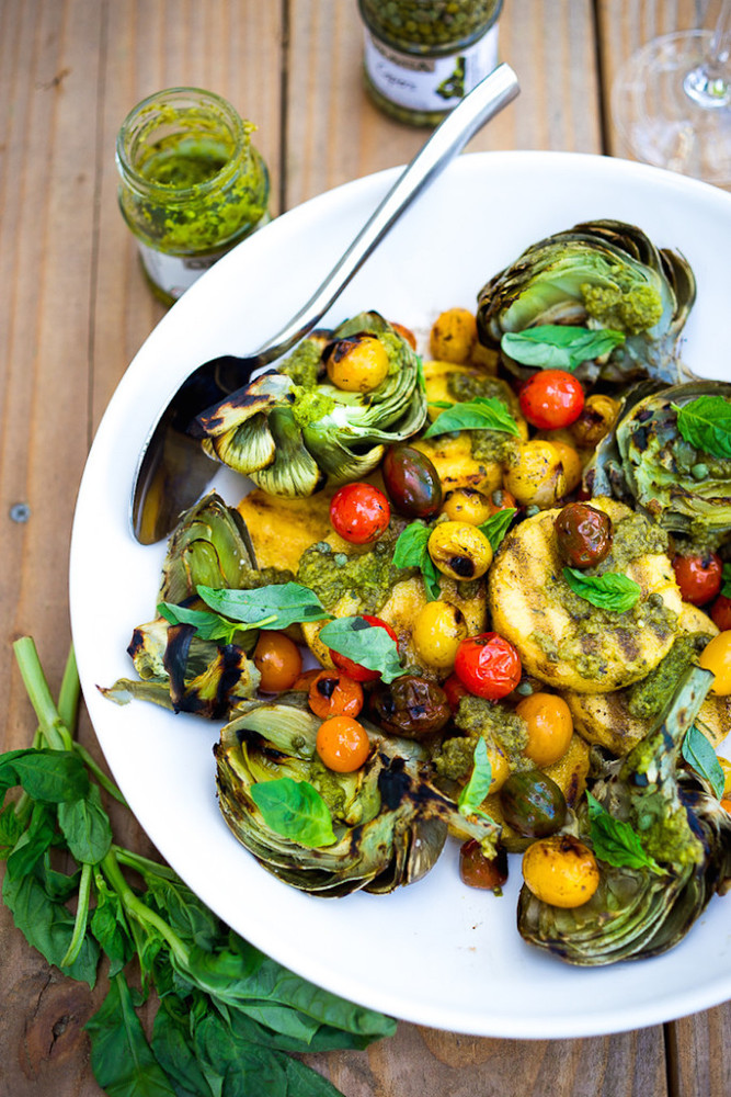 http://www.feastingathome.com/grilled-artichokes-and-polenta/