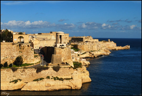 View of Valletta's walled fortifications and Grand Harbor, Malta