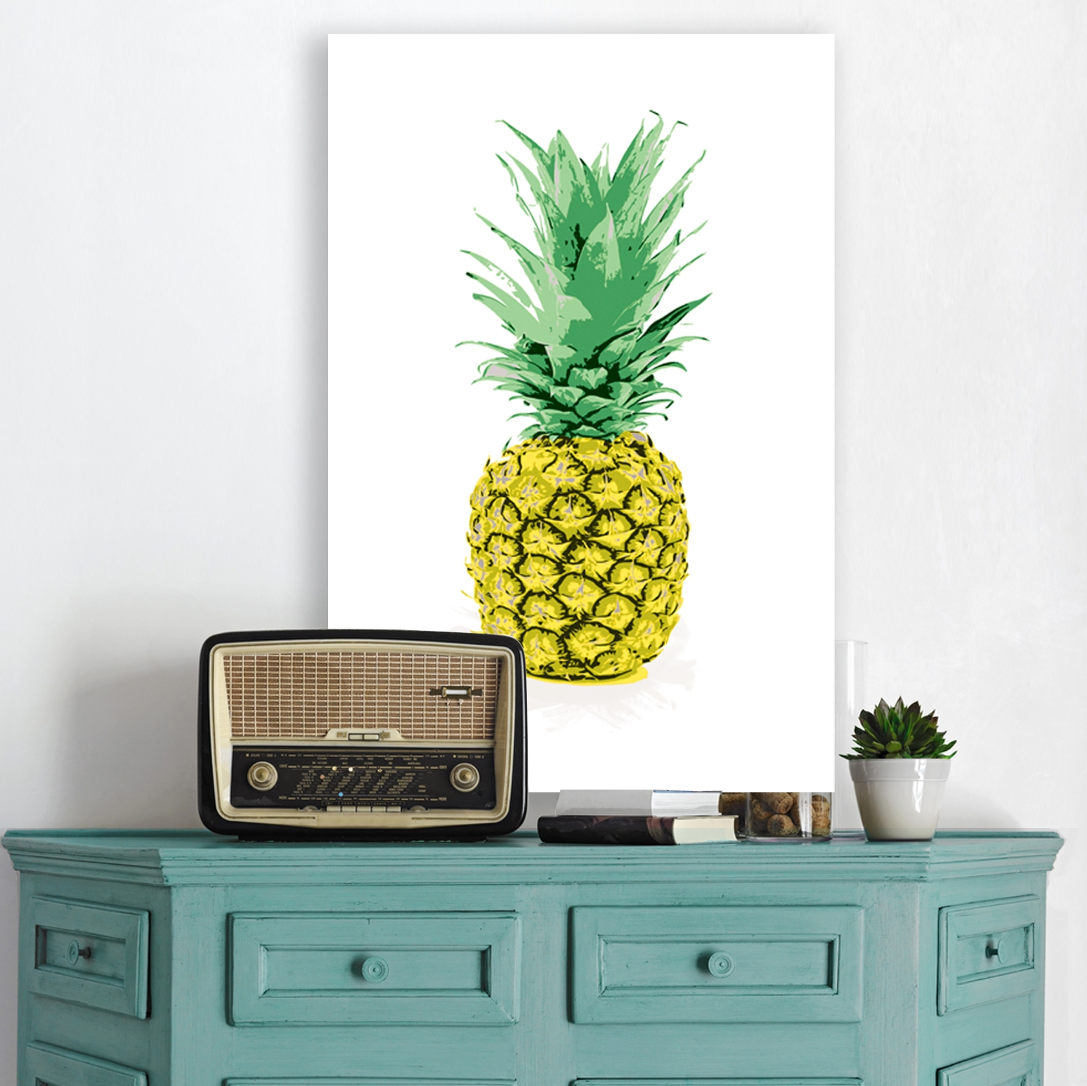 pineapple wall art, pineapple canvas
