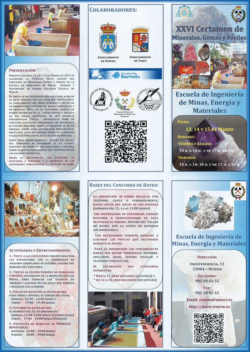 Tríptico de XXVI Certamen de Minerales, Gemas y Fósiles