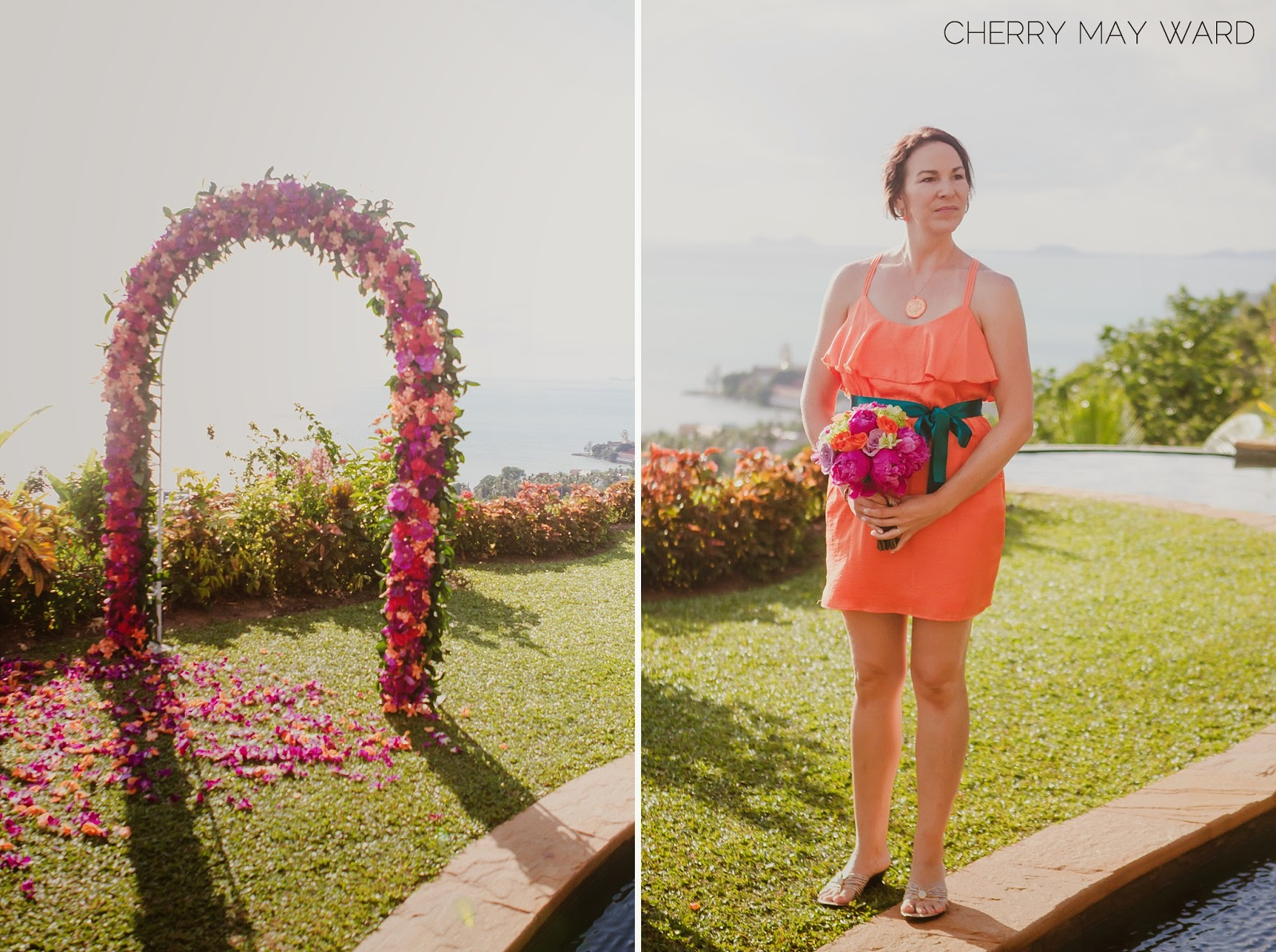 maid of honour at the aisle, Koh Samui wedding with colourful details, Thailand wedding colourful DIY decorations, destination wedding in Thailand, Cherry May Ward Photography