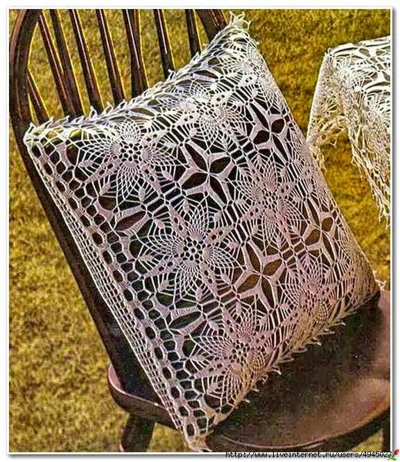 Patrón de almohadón al crochet con apliques cuadrados muy finos