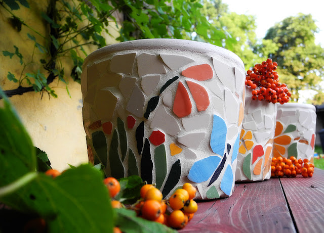 Doniczki - mozaika artystyczna