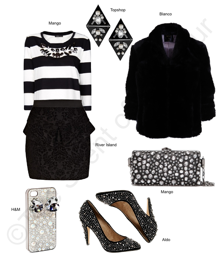 mango clutch, topshop earrings, blanco fur jacket, aldo heels, h&m phone case, river island peplum skirt, mango top