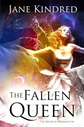 Cover art for The Fallen Queen by Jane Kindred, featuring a pale-skinned blonde woman wearing a white ball gown.