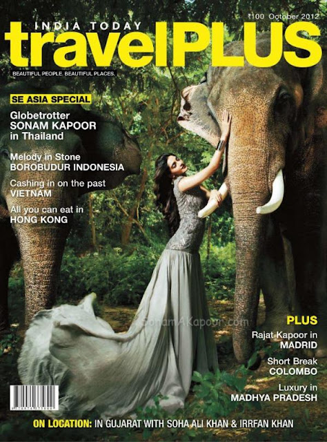 Actress Sonam Kapoor on the cover page of Travel Plus