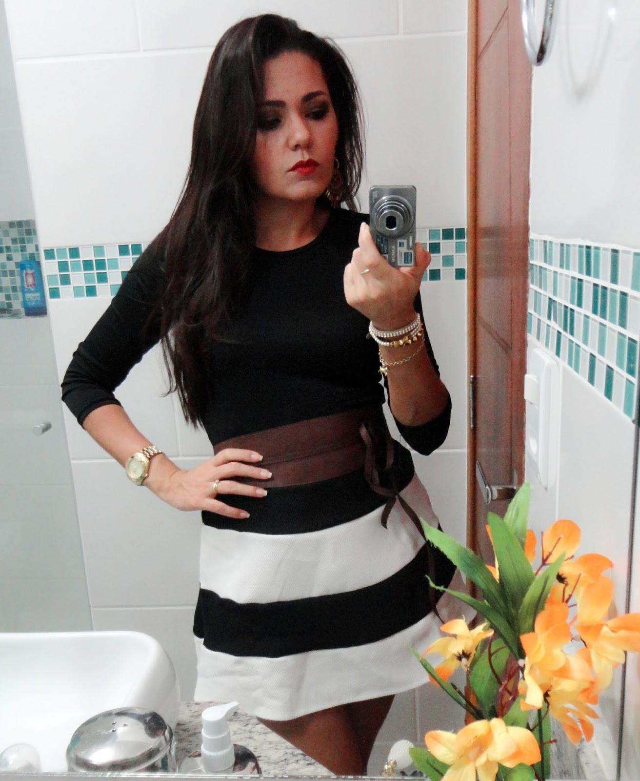 Vestido preto e branco aliexpress