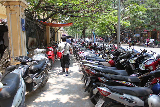 Tons of motorcycles in Hanoi, Vietnam