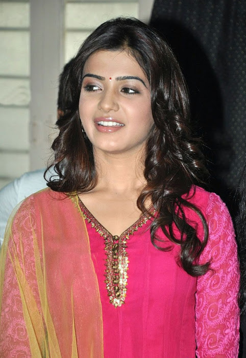 samantha beautiful in pink churidar actress pics