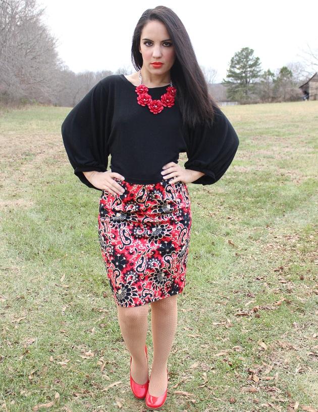 Red Paisley Skirt