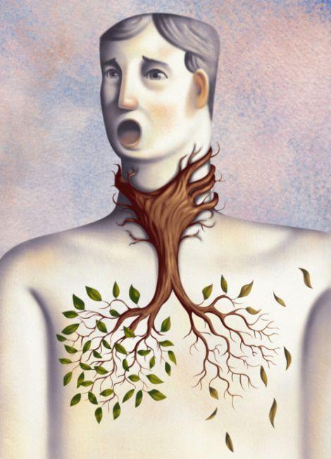 Jim Tsinganos ilustrações surreais oníricas natureza revista Sufocando