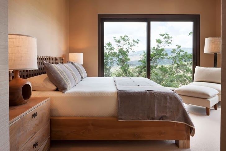 Bed in the Modern mountain house in Aspen, Colorado