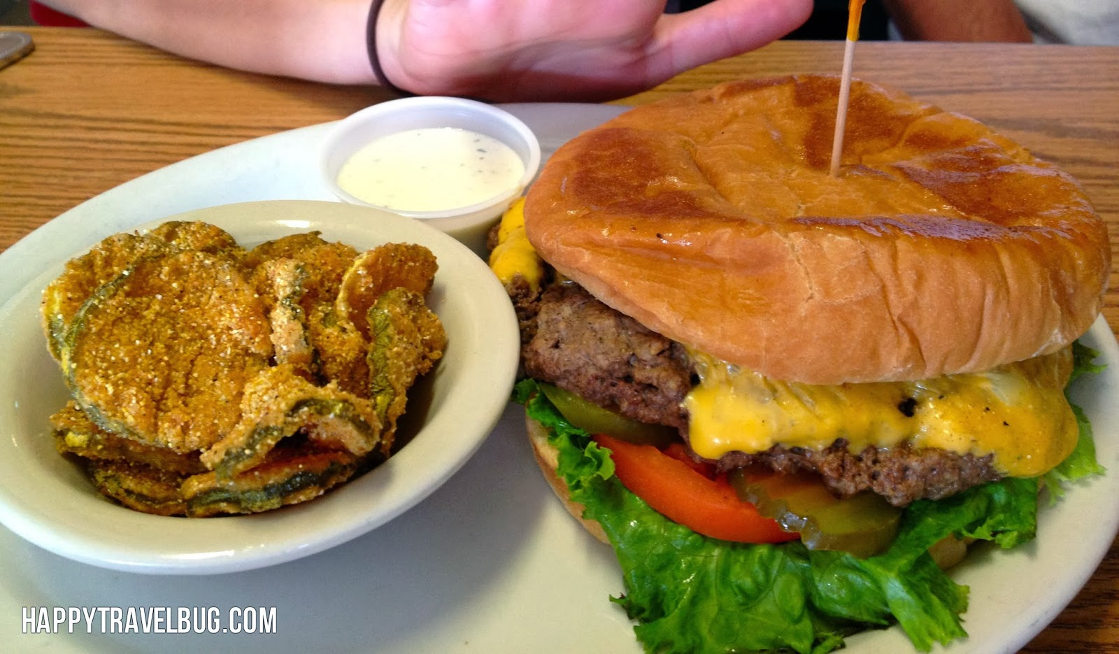 The hub cap hamburger and fried pickles at Cotham's in Arkansas