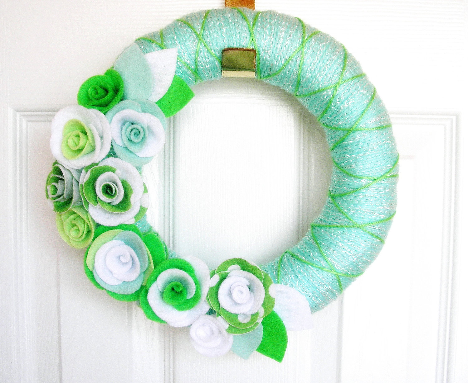 Mint green yarn wreath