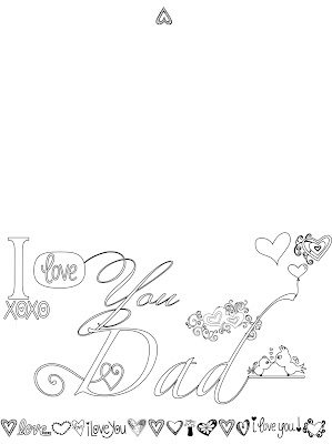 I love you Dad, Father's Day Card, Adult coloring page, free, stefanie girard