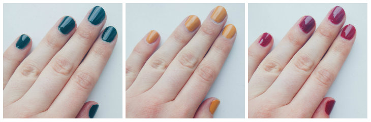 Barry M Gelly Nail Paint in Black Pistachio, Mustard, and Chilli (on nails)