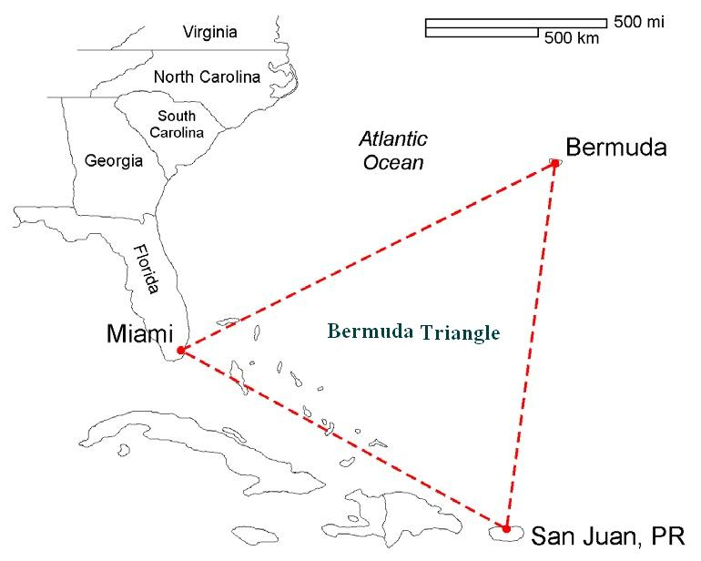 bermuda triangle map area and location bermuda triangle