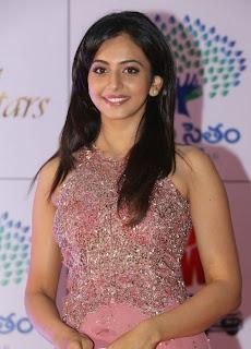 Actress Rakul Preet Singh Latest Pictures in Long Dress at Memu Saitam Dinner with Stars Red Carpet 30
