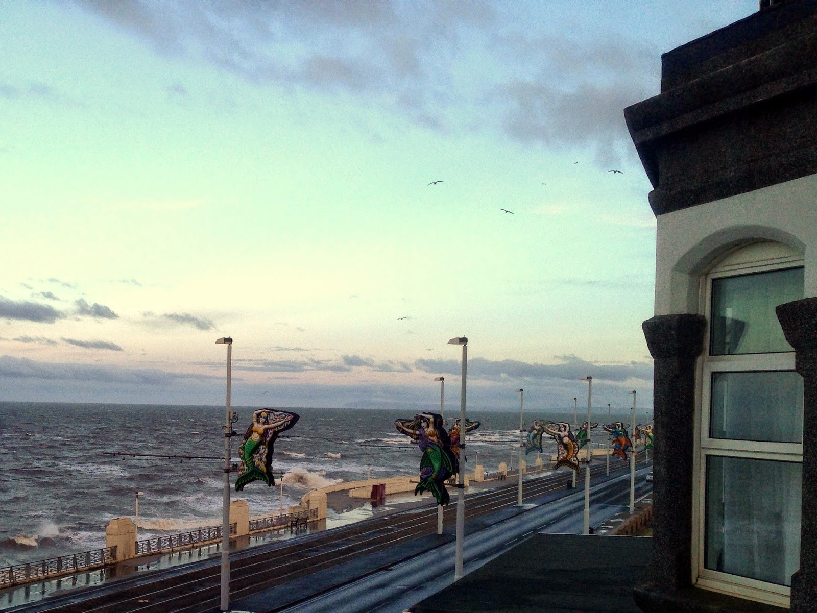 promenade, illuminations, Blackpool, tramway, hotel, hotel view, Strand Hotel,