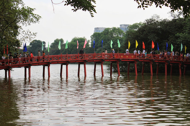 The famous Huc Bridge connects Jade Island to the shore at Hoan Kiem Lake in Hanoi, Vietnam