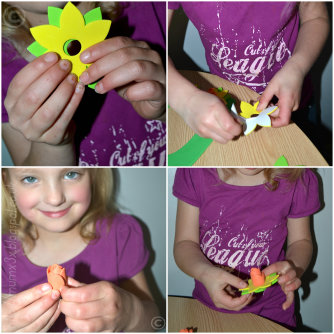 E making the daffodil wreath
