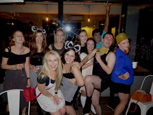 The gang in fancy dress at Rocky Horror Picture Show outdoor Halloween screening at The Hive in Wan Chai, Hong Kong