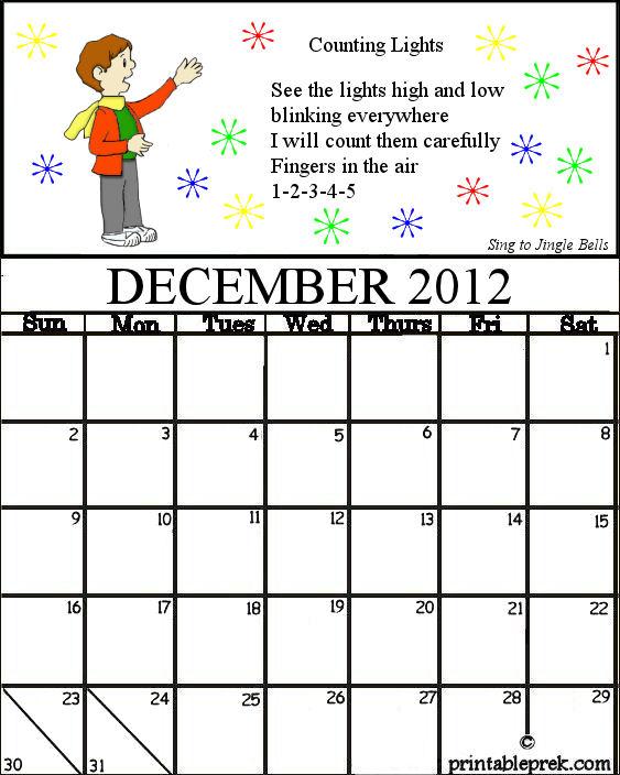 December Calendar Kindergarten : Preschool teacher s resource time for our december