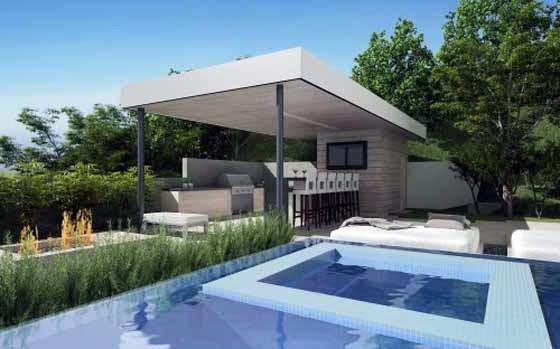 Modern Summer Kitchen and Pool in Backyard