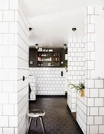 Luxury White Subway Tiles With Black Grout And Black Tile Floor  Living Room