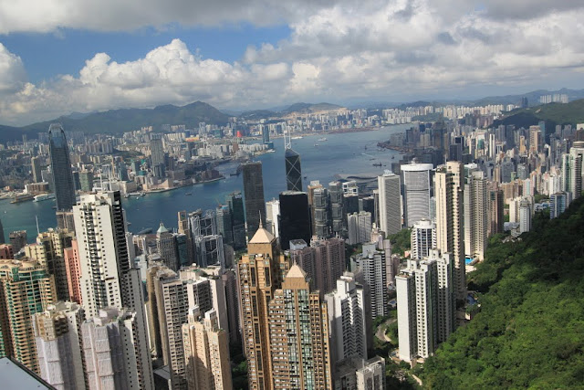 A close up of multi million skyline office buildings from the viewing platform of Sky Terrance 428 at The Peak Tram in Hong Kong