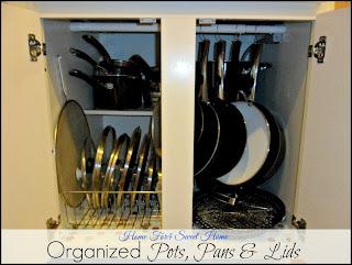 organized pots, pans, & lids