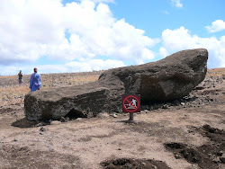 End of The Road - This Moai cracked, approadching Ahu Hanga Tetenga, Easter Island