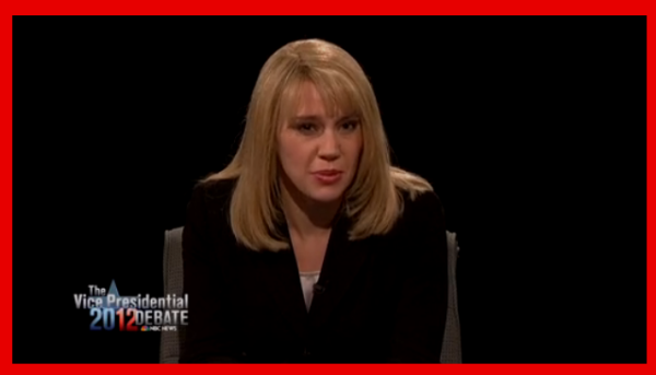 Kate McKinnon as debate moderator Martha Raddatz on SNL 10/13/2102.