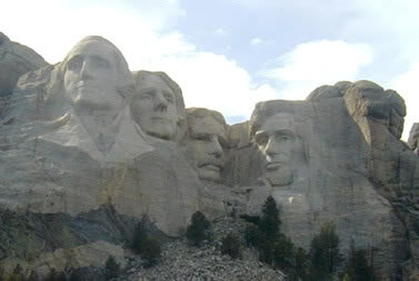Presidential faces memorialized in stone