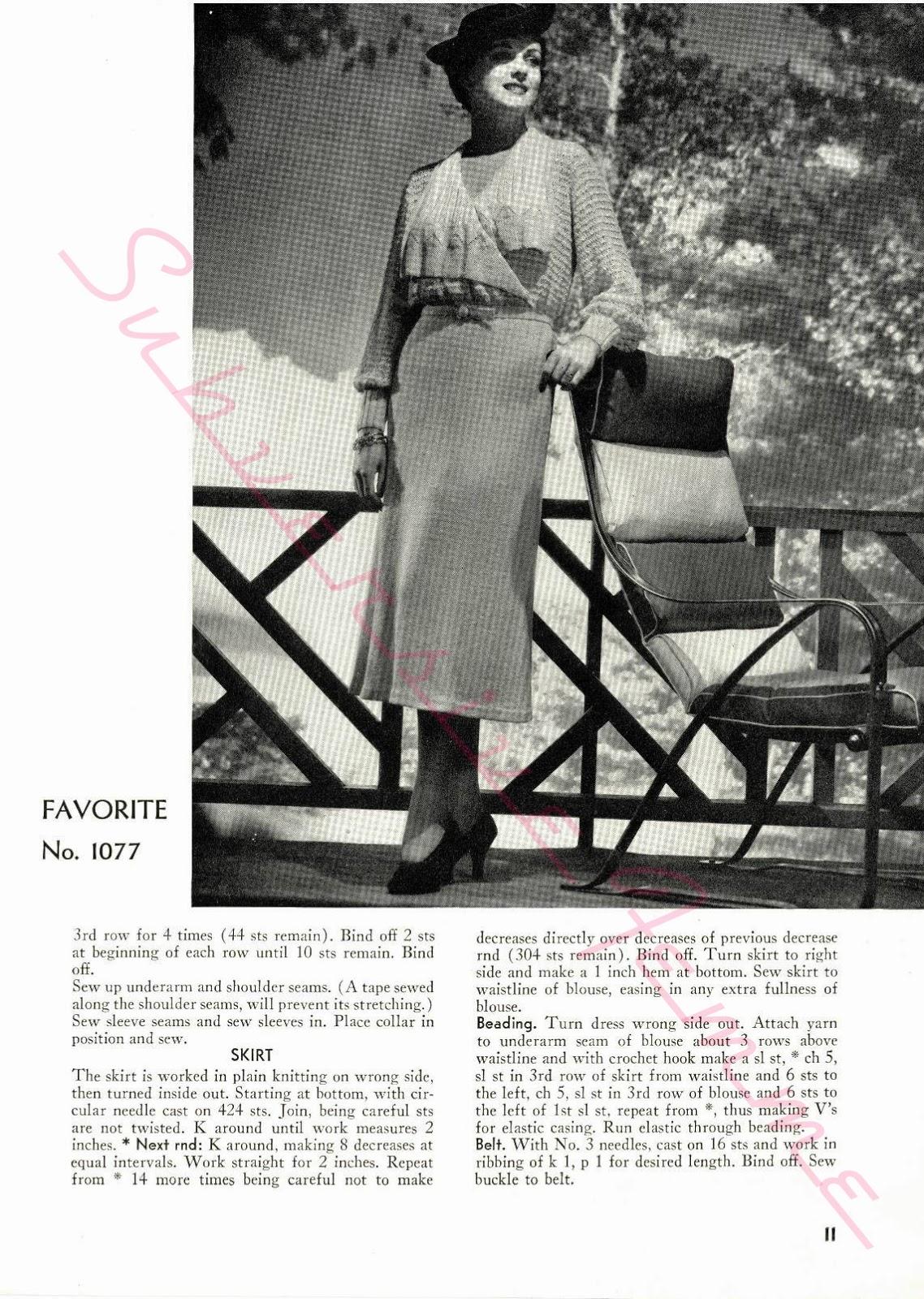 free vintage knitting pattern 1930s plus size xl 38
