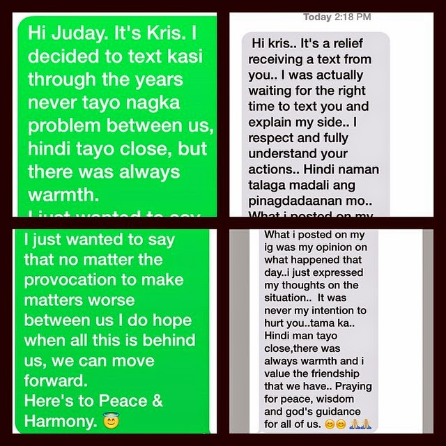 The text message Kris Aquino sent to Judy Ann Santos