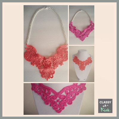 Coral Lace Necklace and Bright Pink Lace Necklace