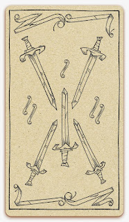 Five of Swords card - inked illustration - In the spirit of the Marseille tarot - minor arcana - design and illustration by Cesare Asaro - Curio & Co. (Curio and Co. OG - www.curioandco.com)